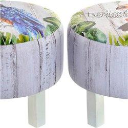 Poggiapiedi DKD Home Decor Zazu Legno Tropicale Tela (40 x 40 x 31 cm)