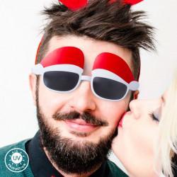 Weihnachtsmützen-Partybrille 144802 Weiß