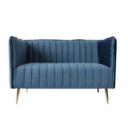 Sofá de 2 Lugares Art Deco Lines (126 x 73 x 78 cm) Azul