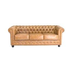 Chesterfield Sofa 3-Sitzer (200 x 80 x 72 cm) Braun