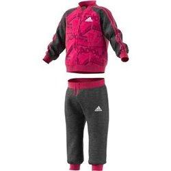 Tuta per Neonati Adidas I Bball Jog FT Rosa Nero 9-12 Mesi