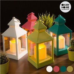 """Lantern with LED Candle """"Pistachio Green"""""""