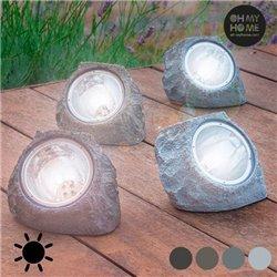 Künstlicher Solarstein (4 LEDs) Dunkelgrau