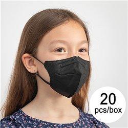 Mascherina di Protezione Respiratoria FFP2 NR HC005 Per bambini Nero (Pacco da 20)
