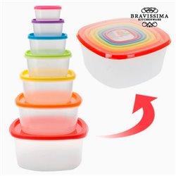 Lebensmittelbehälter mit Farbigen Deckeln (7 Teile)
