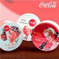 Boîte vintage ronde et en métal Coca-Cola