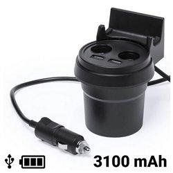 Caricabatterie USB per Auto con Supporto per Cellulare 3100 mAh 145534 Nero
