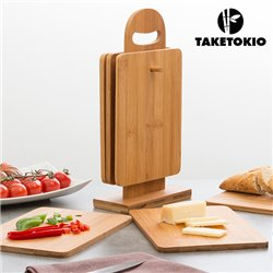 TakeTokio Bamboo Set of Chopping Boards with Base (7 pieces)