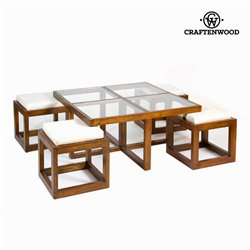 Table basse avec 4 tabourets - Collection Serious Line by Craftenwood