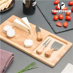 Planche à découper en Bambou avec Couteaux à Fromage TakeTokio (4 pièces)