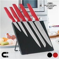 Couteaux avec Support Magnétique Bravissima Kitchen (6 pièces) Rouge