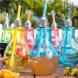 Wagon Trend Farbige Glühbirne Trinkgläser 400 ml mit Strohhalmen (6er Pack)