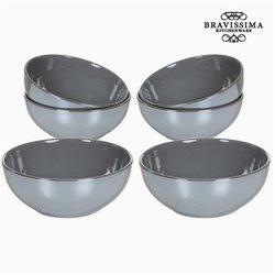 Set of bowls China crockery Cinzento (6 pcs) - Kitchen's Deco Coleção by Bravissima Kitchen