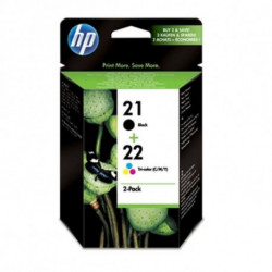 HP 21/22 Original Negro, Cian, Magenta, Amarillo Multipack 2 pieza(s) SD367AE