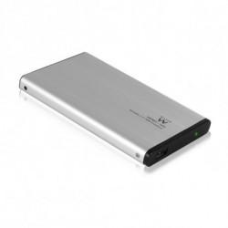 Ewent EW7041 caja para disco duro externo 2.5 Aluminio, Negro USB con suministro de corriente