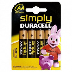 DURACELL Piles Alcalines Simply DURSIMLR6P4B LR6 AA 1.5V (4 pcs)