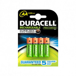 DURACELL Rechargeable Batteries AA NiMh 2400 mAh (4 pcs) 5000394057043