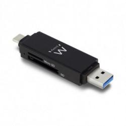 Ewent EW1075 lecteur de carte mémoire Noir USB 3.0 (3.1 Gen 1) Type-A/Type-C