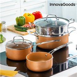InnovaGoods Kitchen Cookware Topf- und Dampftopfset mit Kupfereffekt (6 Teile)