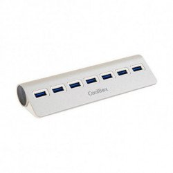 CoolBox COO-HU7ALU3 hub & concentrateur USB 3.0 (3.1 Gen 1) Type-A 5000 Mbit/s Argent