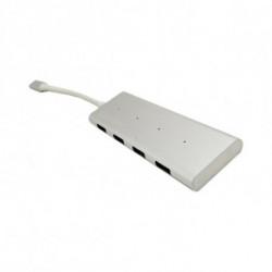 CoolBox COO-HUC4U3 hub de interfaz USB 3.0 (3.1 Gen 1) Type-C 5000 Mbit/s Aluminio