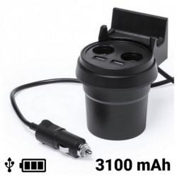 Chargeur USB pour Voiture avec Support pour Téléphone Portable 3100 mAh 145534 Noir