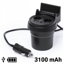 USB Car Charger with Mobile Phone Holder 3100 mAh 145534 Black