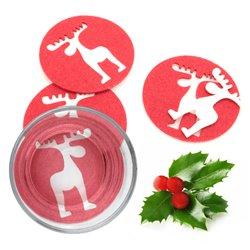 Dessous de verre Noël Renne (4 pcs) 143754 Rouge