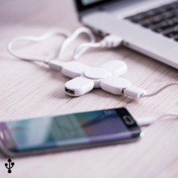 Spinner avec 3 Ports USB 145962 Blanc