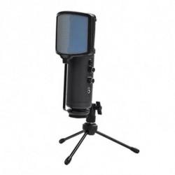 KEEP OUT Micrófono Sobremesa XMICPRO USB Streaming LED Negro