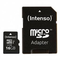 INTENSO Carte Mémoire Micro SD avec Adaptateur 34234 UHS-I Premium Noir 16 GB