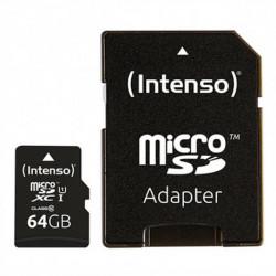 INTENSO Carte Mémoire Micro SD avec Adaptateur 34234 UHS-I XC Premium Noir 64 GB
