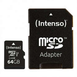 INTENSO Tarjeta de Memoria Micro SD con Adaptador 34234 UHS-I XC Premium Negro 64 GB