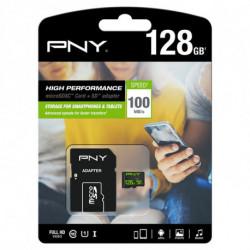 PNY Carte Mémoire Micro SD avec Adaptateur 100 MB/s Noir 128 GB