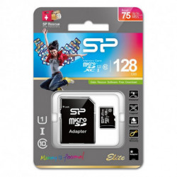 Silicon Power Elite mémoire flash 128 Go MicroSDXC Classe 10 UHS-I SP128GBSTXBU1V10SP
