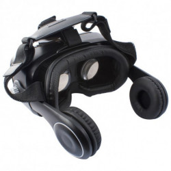 Virtual Reality Glasses with Headphones Black