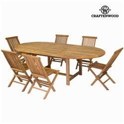 Extendible table with 6 chairs by Craftenwood
