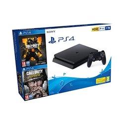 Play Station 4 Slim + Call Of Duty Black Ops 4 + Call Of Duty WWII Sony 8 GB RAM 1 TB Nero