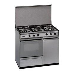 Cucina a Gas Butano Meireles 90 cm 114 L Inox Bianco (5 Fornelli)