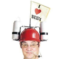 Capacete 'I Love Beer' com Suporte para Copos Vermelho