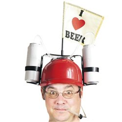 I Love Beer Helmet with Drink Holders Red