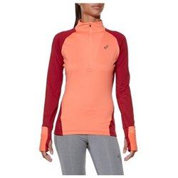 Asics Damen Langarm-T-Shirt LS Winter 1/2 Zip Koralle (Größe l - us)