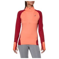 Asics Women's Long Sleeve T-Shirt LS Winter 1/2 Zip Coral (Size l - us)