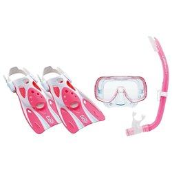 Maschera da Snorkeling con Boccaglio e Pinne Tusa Sport Mini Kleio Silicone Rosa (Taglia s)