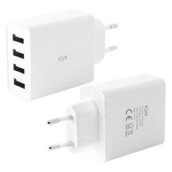 Caricabatterie da Parete 4 USB 4.5A Bianco