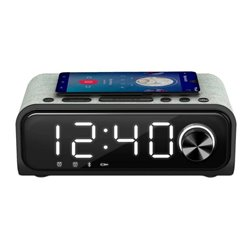 Radio Sveglia con Caricabatterie Wireless Energy Sistem Speaker 4 Bluetooth 5.0 10W Nero Argentato