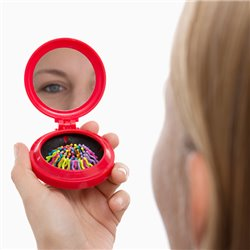 Colors Handbag Mirror with Built-in Brush