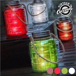 Grange Vintage Coconut Decorative Glass Jar with LEDs Green