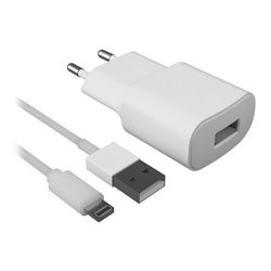 Caricabatterie da Parete + Cavo Lightning MFI 2.1A Bianco