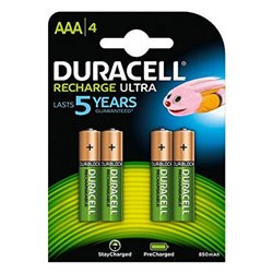Batterie Ricaricabili DURACELL DURDLLR03P4B HR03 AAA 800 mAh (4 pcs)